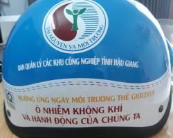 Hợp tác sản xuất nón bảo hiểm in logo ban quản lý KCN tỉnh Hậu Giang